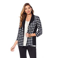 Slinky® Brand 3/4-Sleeve Houndstooth-Print Jacket