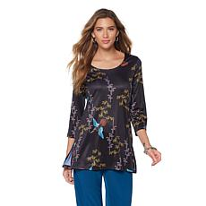 Slinky® Brand 3/4-Sleeve Long Printed Knit Tunic