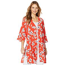 Slinky® Brand 3/4-Sleeve Printed Bubble Crepe Duster