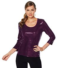 Slinky® Brand 3/4-Sleeve Scoop Neck Sequin Tee