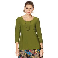 Slinky® Brand 3/4-Sleeve Solid Scoop-Neck Tunic