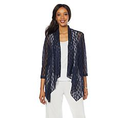 Slinky® Brand 3/4-Sleeve Waterfall Crochet Jacket