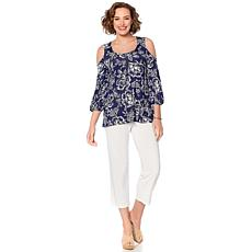 Slinky Brand Cold-Shoulder Printed Tunic and Cropped Pant