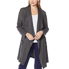 Slinky Brand Drape-Front Sweater Duster with Pockets