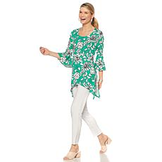 Slinky® Brand Flounce-Sleeve Print Sharkbite Tunic and Pant Set