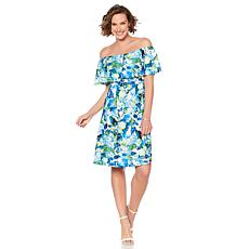 Slinky® Brand On/Off-Shoulder Printed Textured Dress