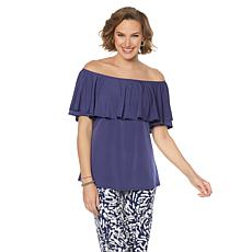 Slinky® Brand On/Off Shoulder Ruffle A-Line Tunic