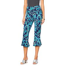 Slinky® Brand Printed Cropped Knit Pant with Flounce Hem