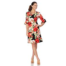 Slinky® Brand Printed Flounce-Sleeve Textured Dress