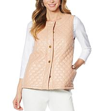 Slinky® Brand Quilted Faux Leather Vest with Pockets