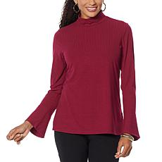 Slinky® Brand Ribbed Knit Mock-Neck Top with Bell Cuffs