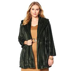 Slinky Brand Shawl-Collar Faux Fur Mink Long Glam Coat