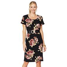 Slinky® Brand Textured Print Short-Sleeve Dress