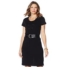 Slinky® Brand Textured Solid Short-Sleeve Dress