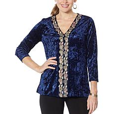 Slinky Brand Velvet Tunic with Embroidered Sequin Trim