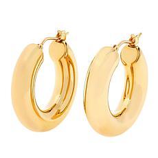 """Soave Oro 14K Electroform 5mm Round Hoop Earrings - 15/16"""""""