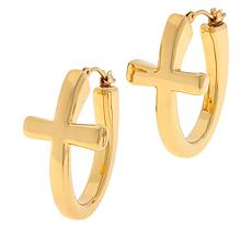 Soave Oro 14K Electroform Polished Cross Hoop Earrings