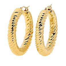 Soave Oro 14K Electroform Ribbed Diamond-Cut Hoop Earrings