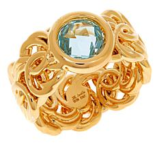Soave Oro 14K Gold Electroform Gemstone Byzantine Ring