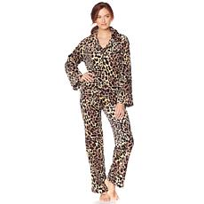 Soft & Cozy Notched Collar Plush Style Comfort PJ Set