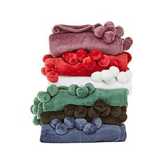 Soft & Cozy Plush Throw with Pom Poms