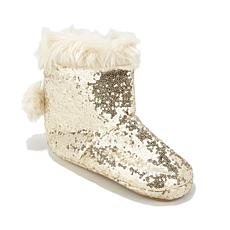 Soft & Cozy Sequin and Faux Fur Pom Pom Bootie
