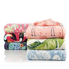 Soft & Cozy Tropical Print Plush Throw