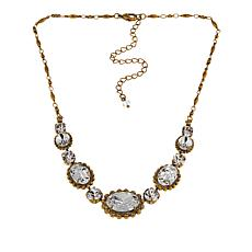 "Sorrelli Jewelry Clear Crystal 15-3/4"" Oval Station Necklace"
