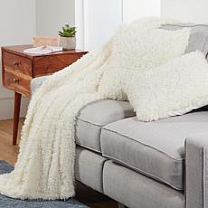 South Street Loft 3-piece Poodle Fur Throw & Pillow Set