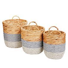 South Street Loft Set of 3 Painted Baskets