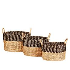 South Street Loft Set of 3 Water Hyacinth Baskets