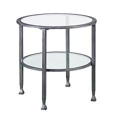 Southern Enterprises Dina Metal/Glass Round End Table -