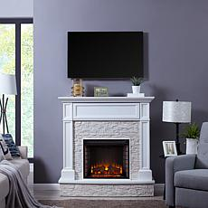 Southern Enterprises Tamala Faux Stone Media Fireplace - White