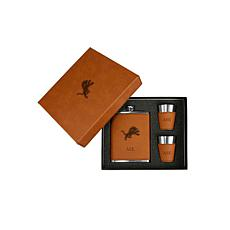 Sparo Brown Detroit Lions Personalized Flask and Shot Set