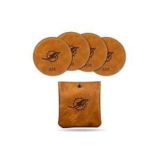 Sparo Brown Miami Dolphins 4-pack Personalized Coaster Set