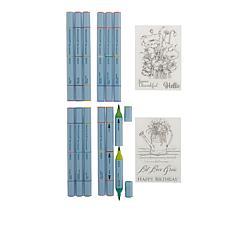 Spectrum Noir Aqua Tri-Color Markers and Clear Stamp Set - Auto-Ship®