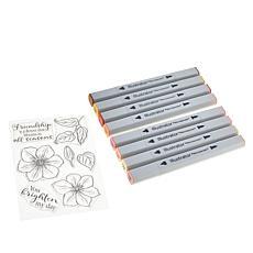 """Spectrum Noir """"Flower"""" Clear Stamp and Illustrator Marker Set"""