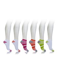 Sporto Half Cushion No Show Sock 6pk Heather Stripe