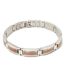 "Stainless Steel and Rosetone-Accent Textured 8-1/2"" Bracelet"