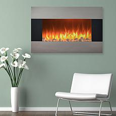 Stainless Steel Electric Fireplace - Wall Mount and Floor Stand And...