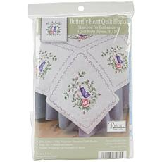 "Stamped White 18"" x 18"" Butterfly Heart Quilt Blocks"