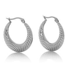 "Stately Steel 1"" Graduated Textured Round Hoop Earrings"