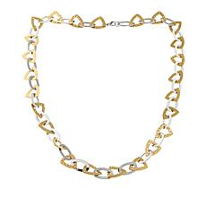 "Stately Steel 2-Tone Triangle and Oval Link 36"" Necklace"