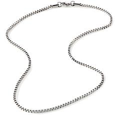 "Stately Steel 2.5mm Box-Link 18"" Chain Necklace"