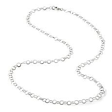 Stately Steel 5mm Open-Ring Circle-Link Chain Necklace