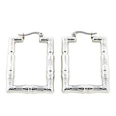 Stately Steel Bamboo-Design Rectangular Hoop Earrings