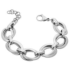 Stately Steel Brushed and Polished Oval-Link Bracelet