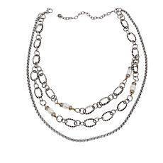 "Stately Steel Crystal and Cultured Pearl Multi-Chain 14-3/4"" Necklace"
