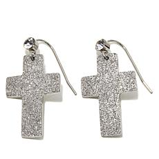 Stately Steel Crystal Cross Stainless Steel Earrings