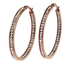 "Stately Steel Crystal Inside/Outside 1-1/2"" Brown-Plated Hoop Earrings"